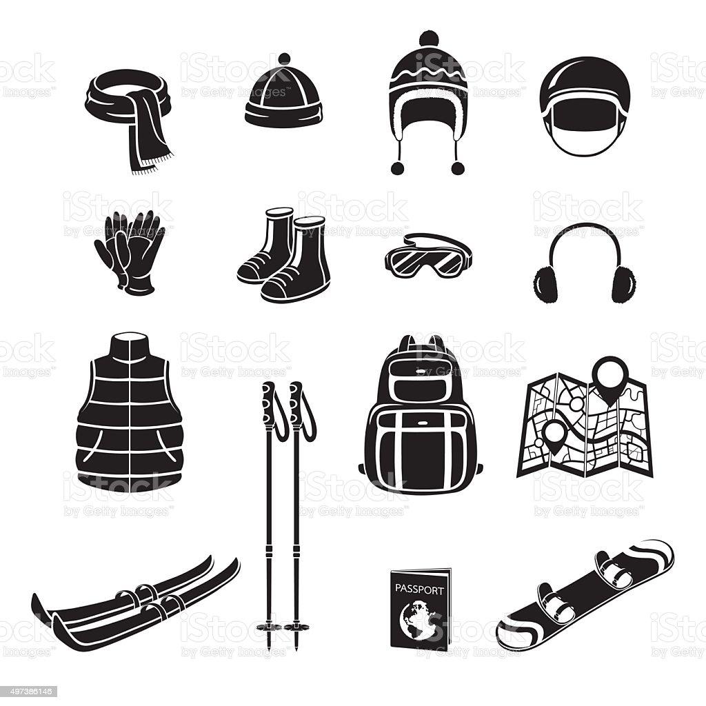 Winter Equipment Monochrome Icons Set vector art illustration