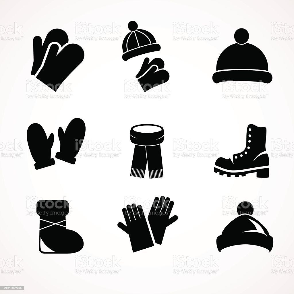 Winter fashion icon set collection. vector art illustration
