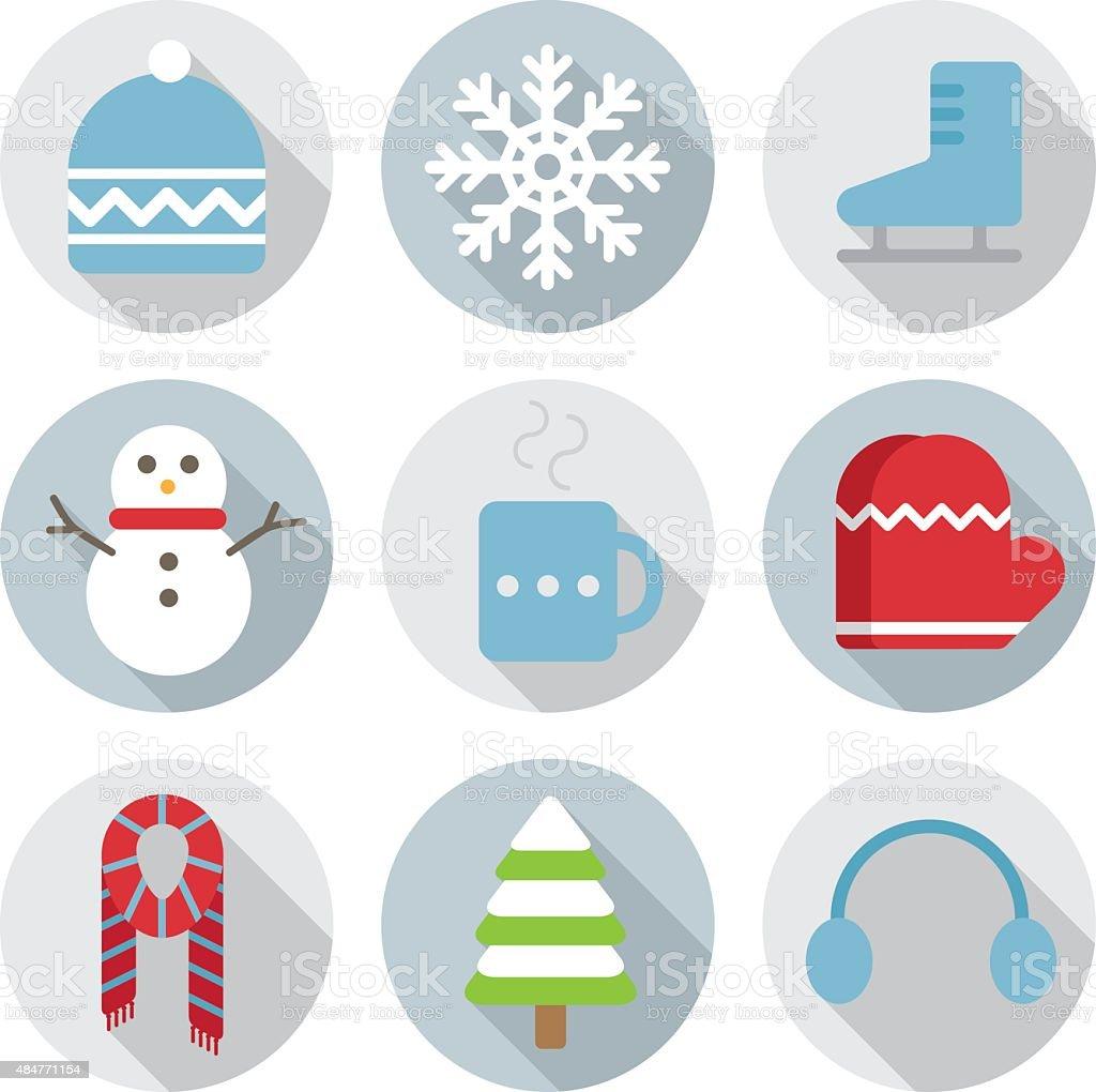winter flat icon vector art illustration