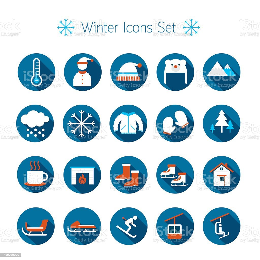 Winter Flat Icons Set vector art illustration