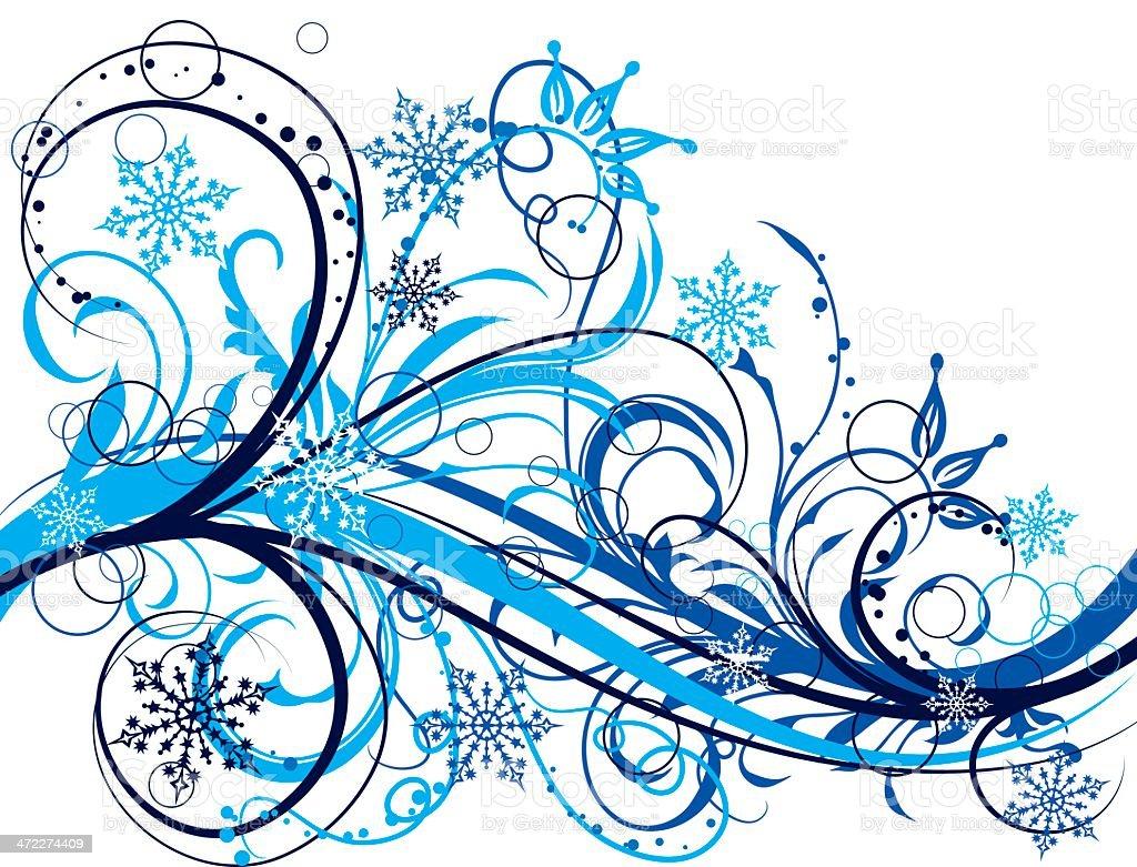 Winter floral background vector art illustration