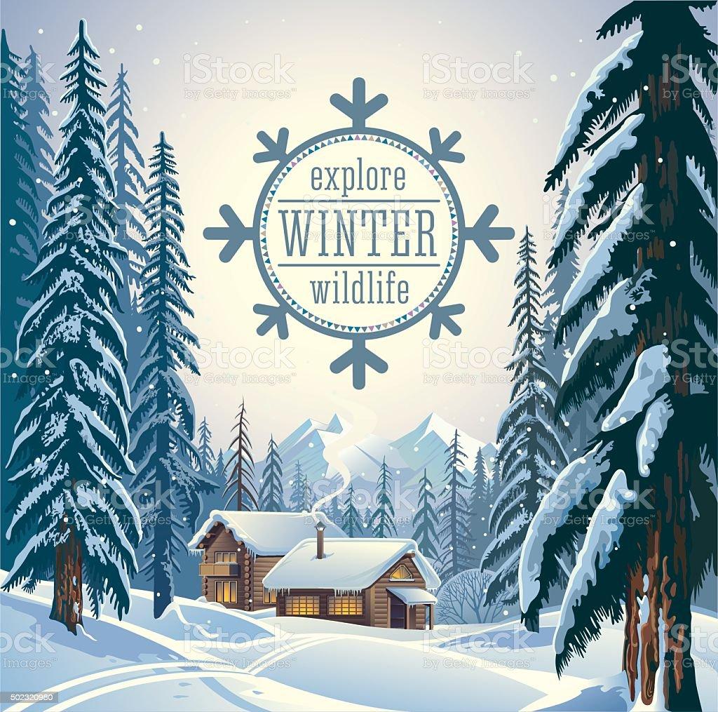 Winter forest landscape. vector art illustration