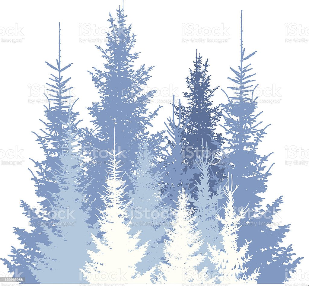 Winter forest silhouette background royalty-free stock vector art