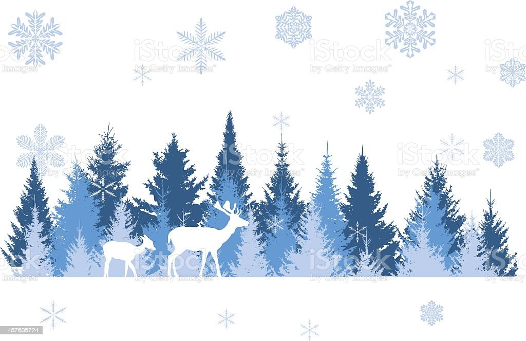 winter forest vector art illustration