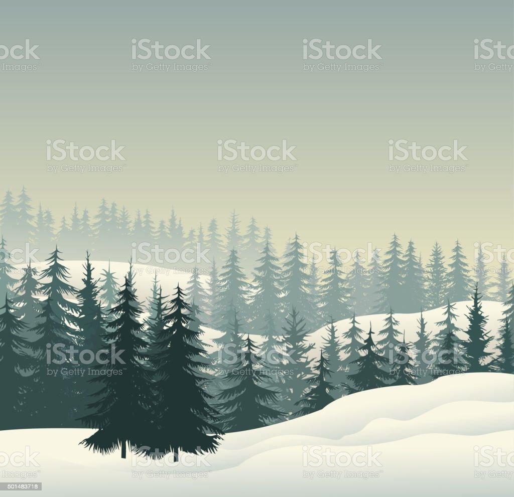 winter forest vector art illustration