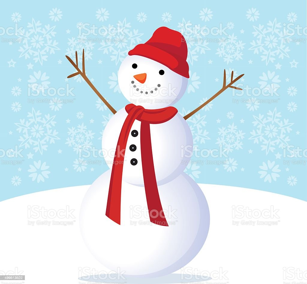 Winter fun. Cheerful snowman. vector art illustration