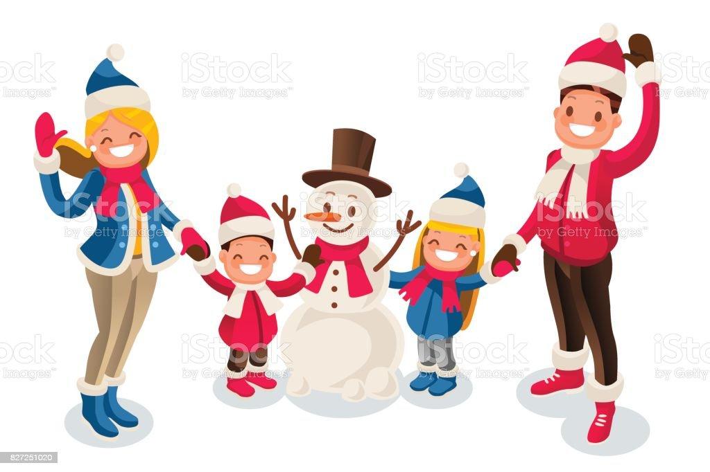 Winter Fun Isometric People Cartoon Family and vector art illustration