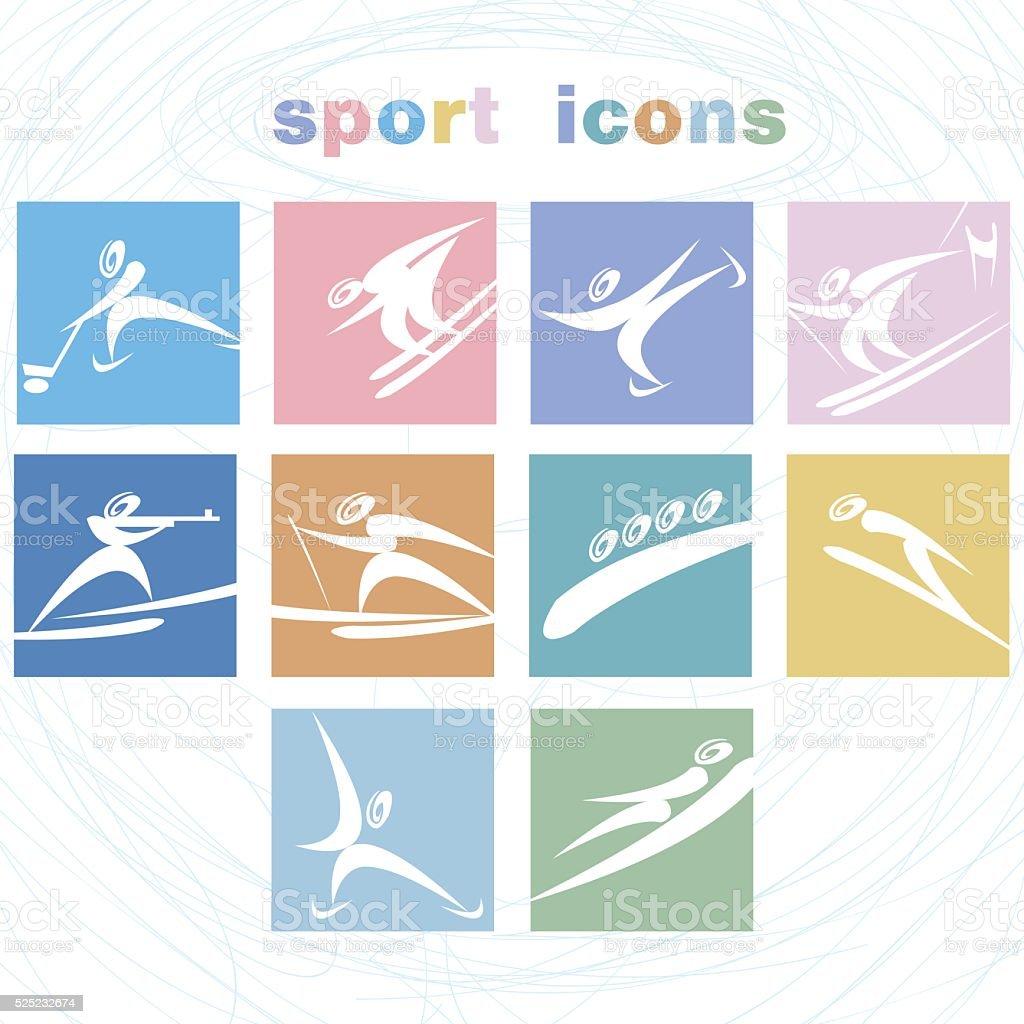 Winter games icon set. vector art illustration