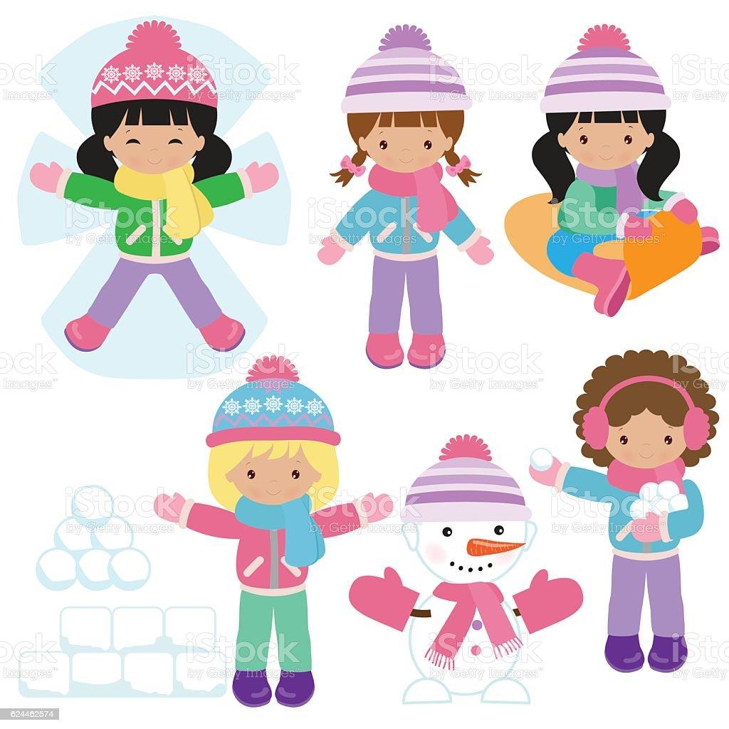 Winter girl vector cartoon illustration vector art illustration