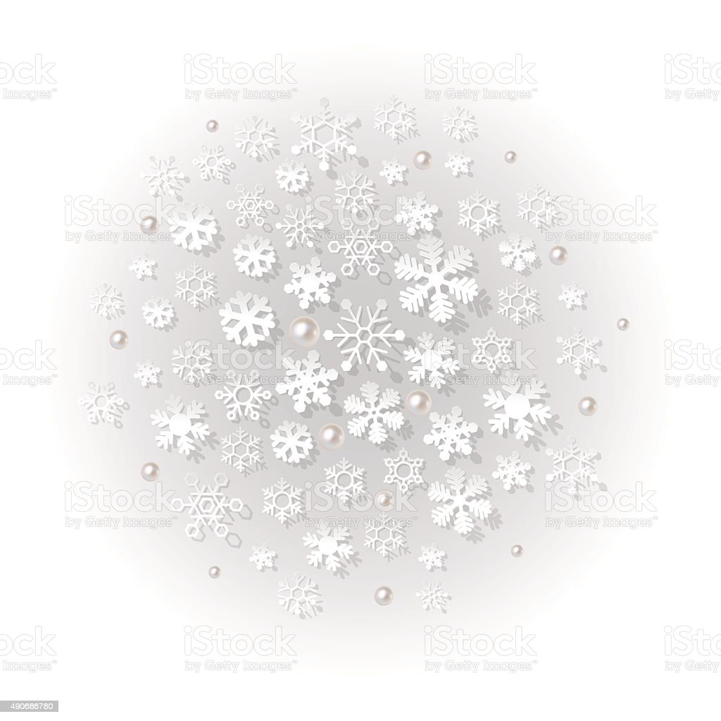 Winter grey fog background with snowflakes. vector art illustration