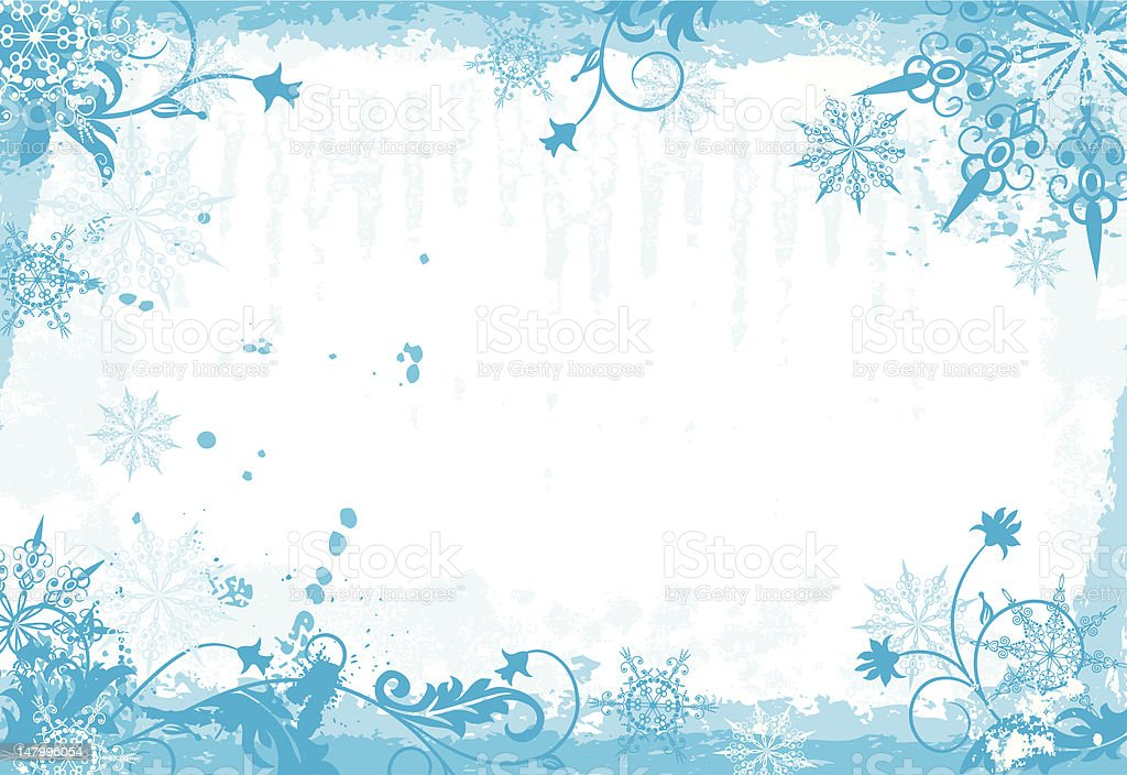 Winter grunge floral frame royalty-free stock vector art