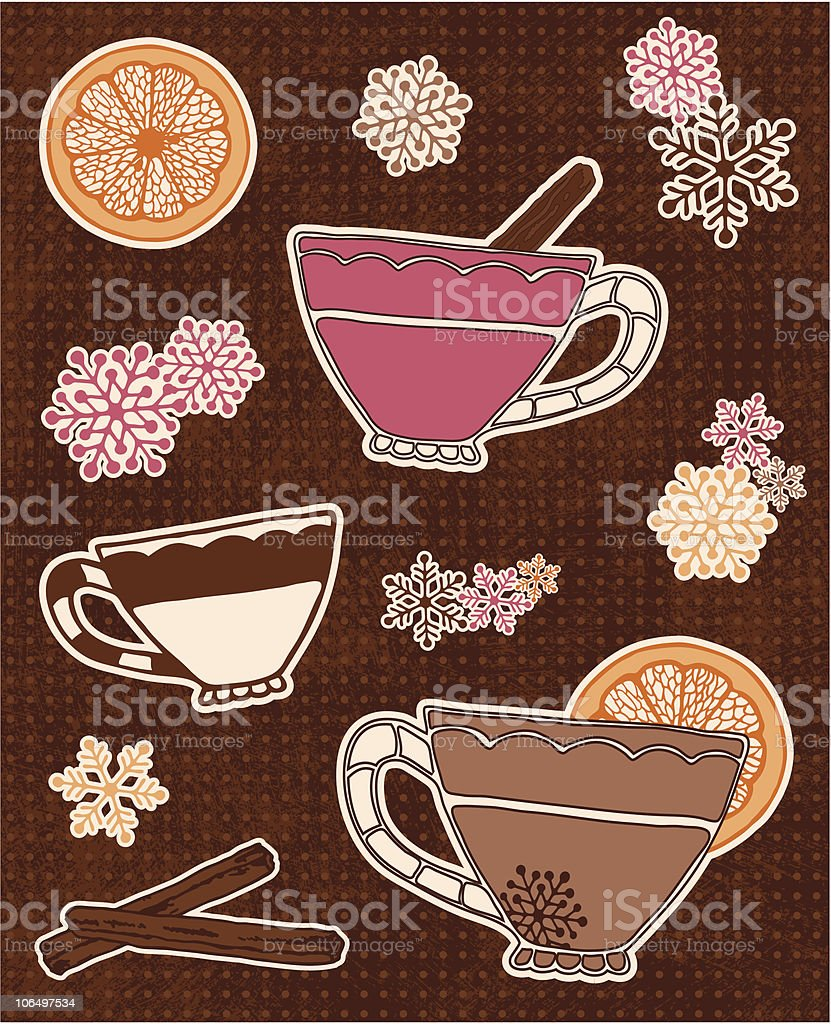 Winter Harvest Spiced Cider Icons royalty-free stock vector art