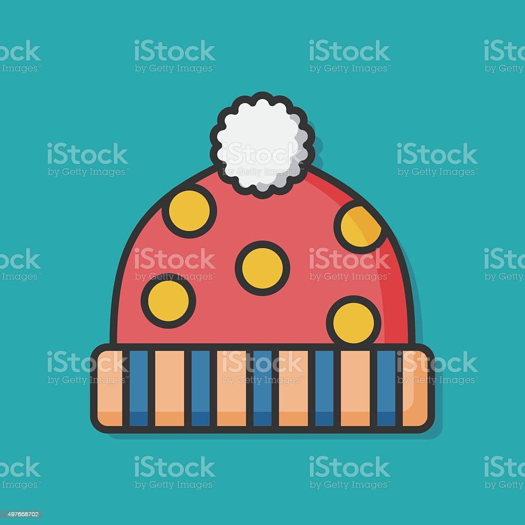 winter hat accessory icon vector art illustration