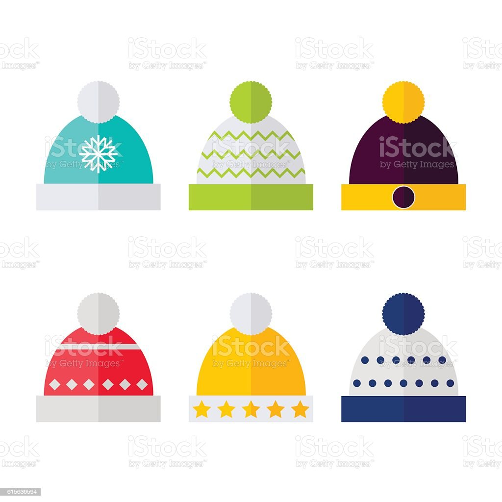 Winter hat isolated icons on white background. vector art illustration