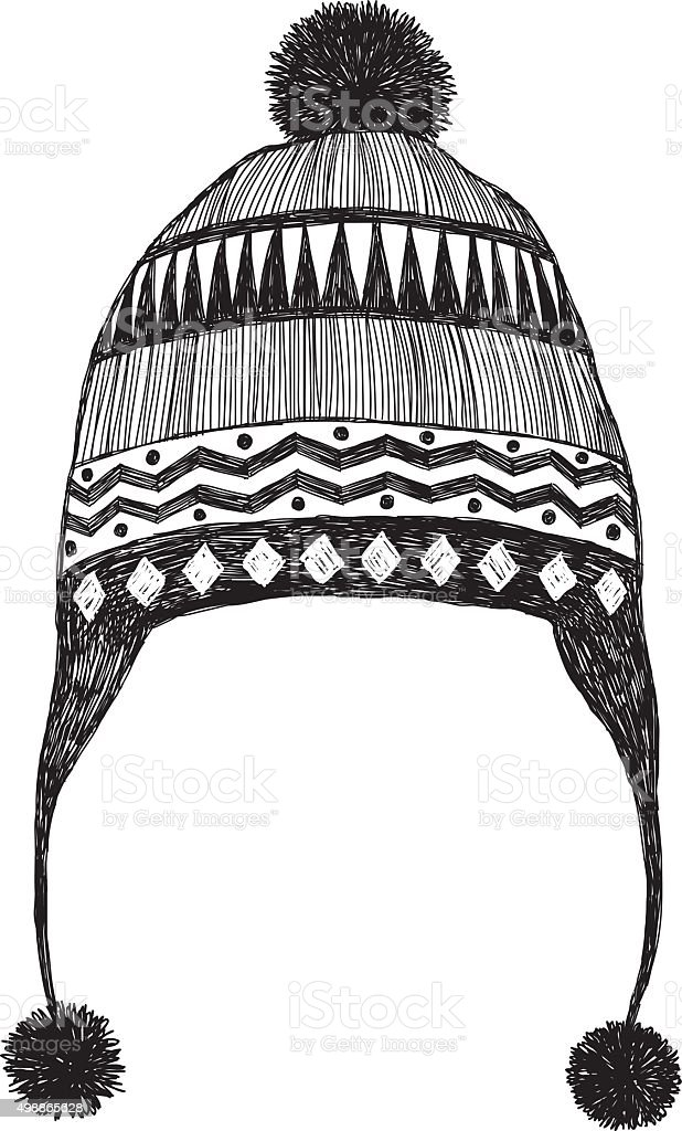 Winter Hat Sketch vector art illustration