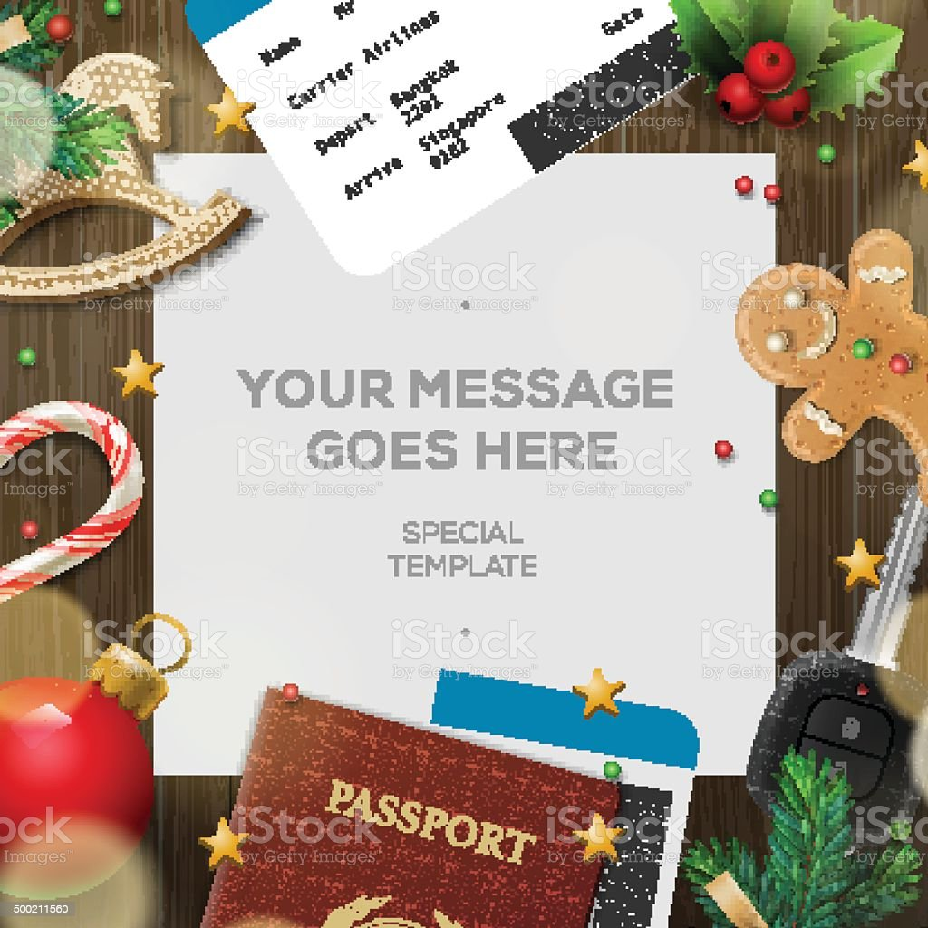 Winter holiday, Christmas travel template vector art illustration