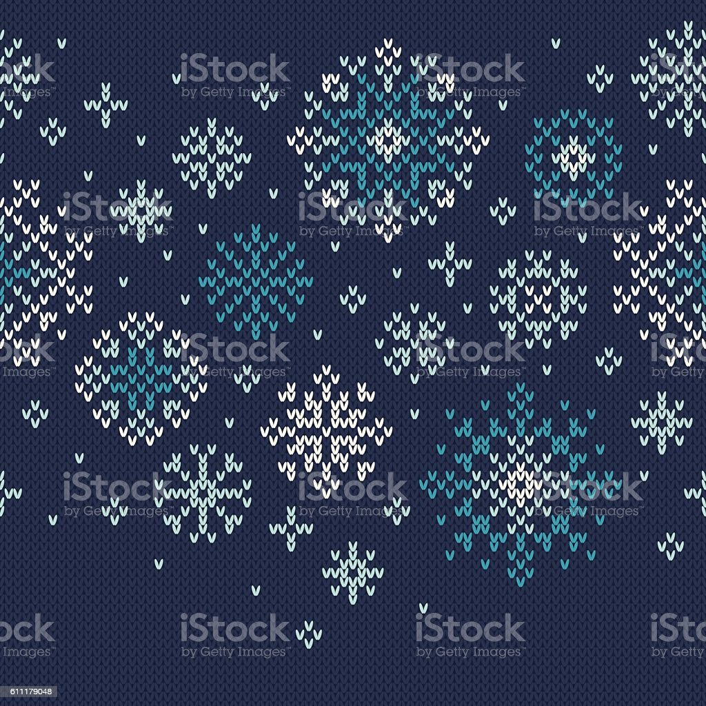 Winter Holiday Knitted Pattern with Snowflakes. Vector Seamless Background vector art illustration
