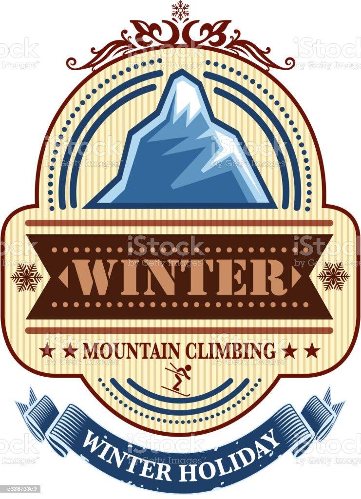 winter holiday label vector art illustration