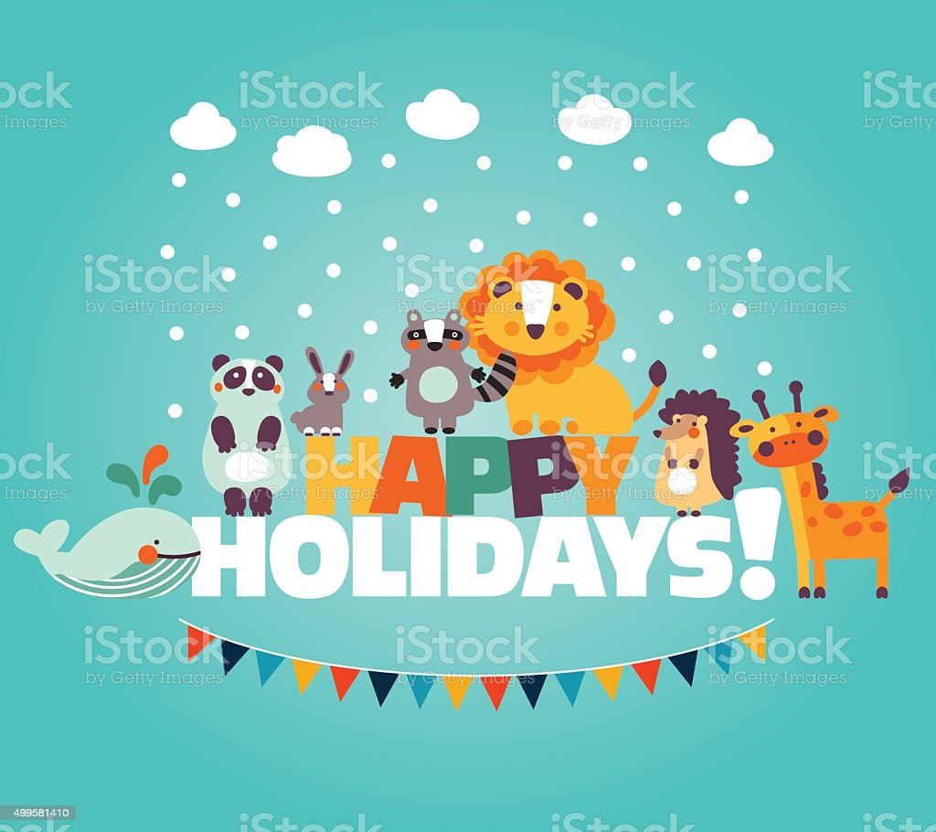 Winter holiday lovely card with funny cute animals and garland vector art illustration
