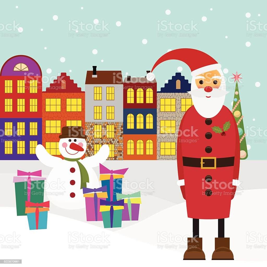 winter holiday picture for greeting cards with cartoon Santa vector art illustration