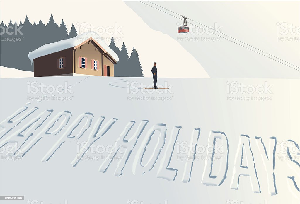 Winter Holidays in the Mountains vector art illustration