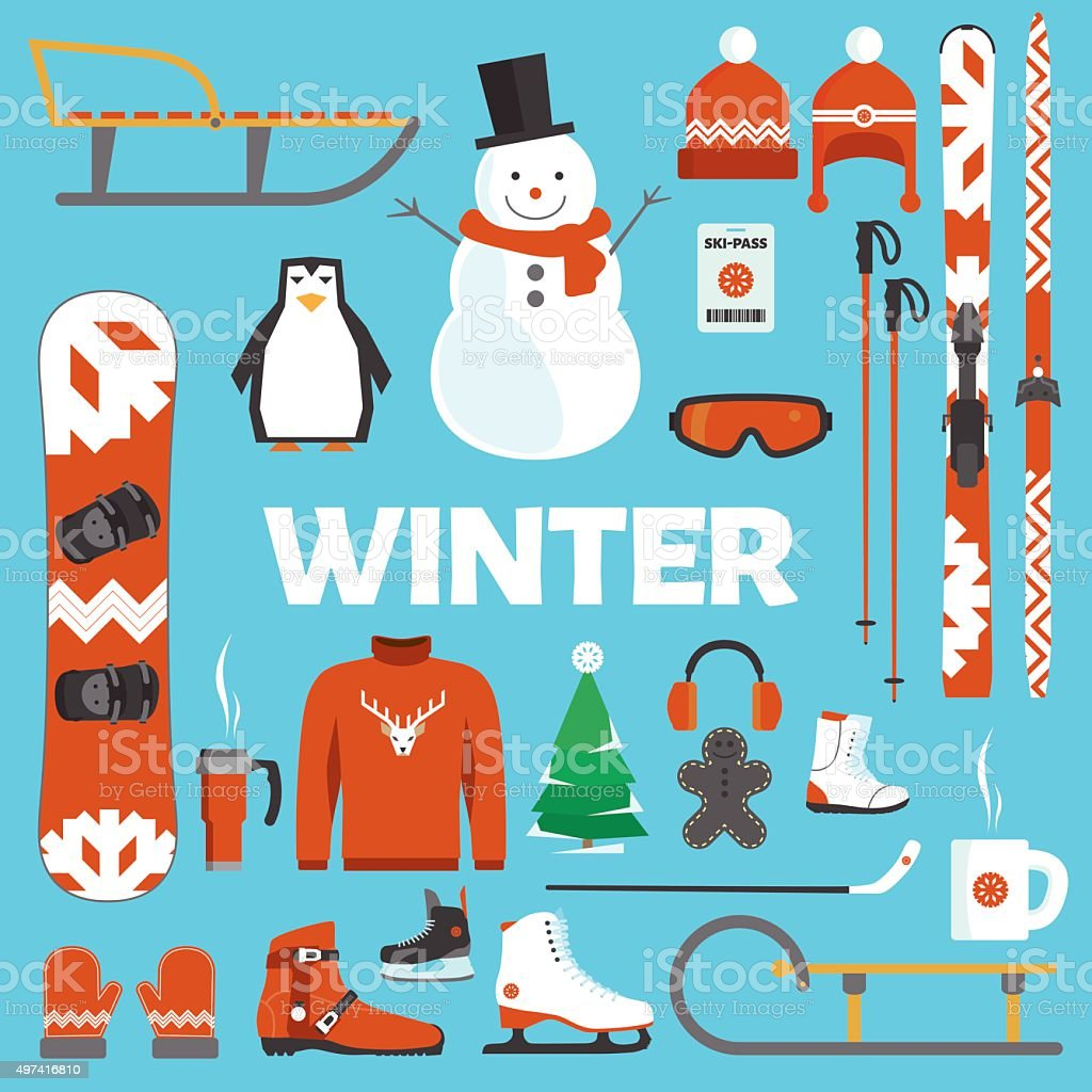 Winter holidays objects vector art illustration