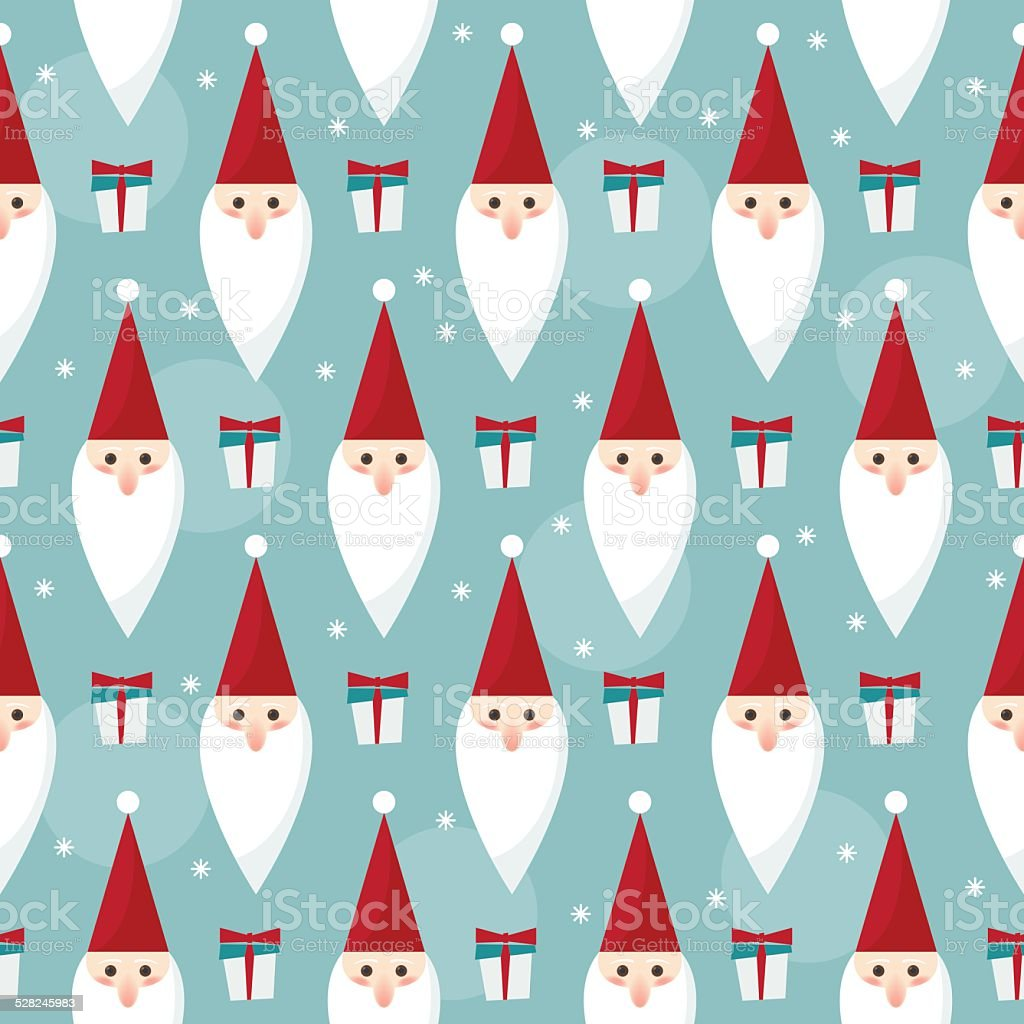 winter holidays seamless pattern background with funny cartoon Santa vector art illustration