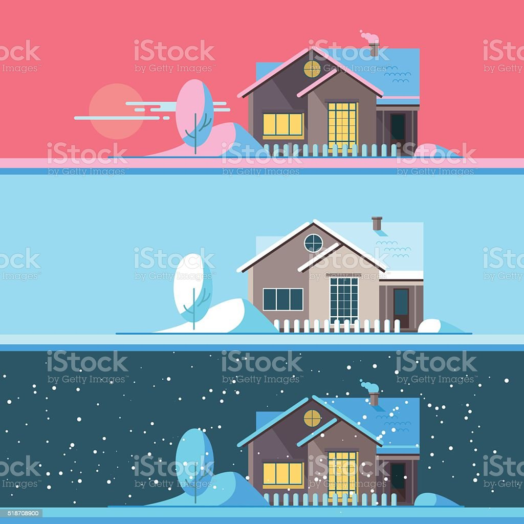 Winter home in the afternoon, night and night vector art illustration