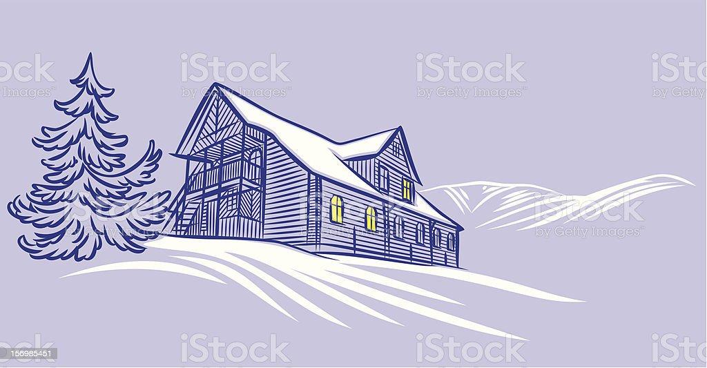 winter home vector art illustration