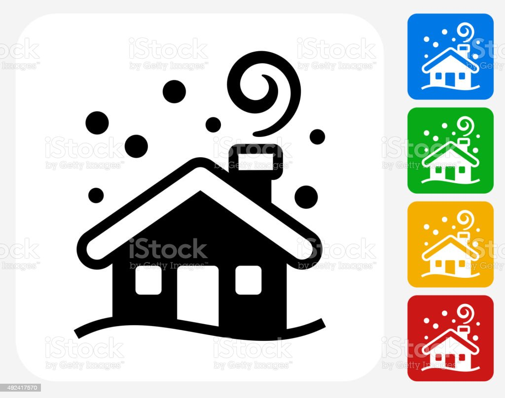 Winter House Icon Flat Graphic Design vector art illustration