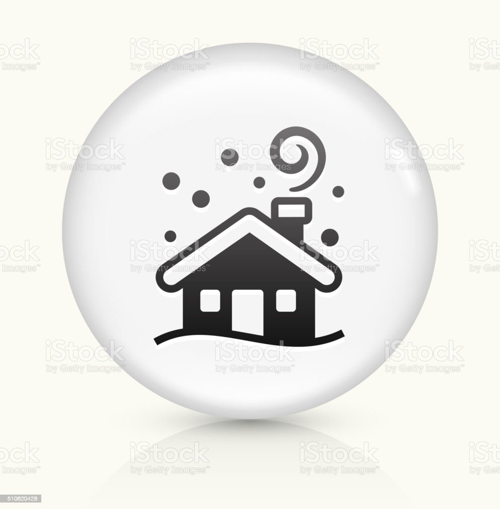 Winter House icon on white round vector button vector art illustration