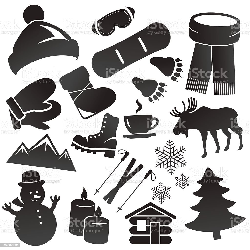 Winter icon set isolated on white background. vector art illustration