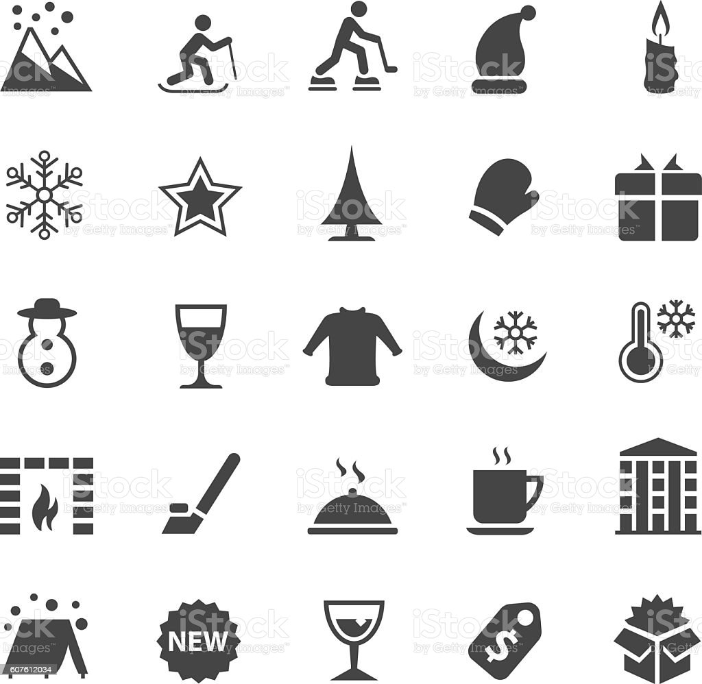 Winter icon set vector art illustration