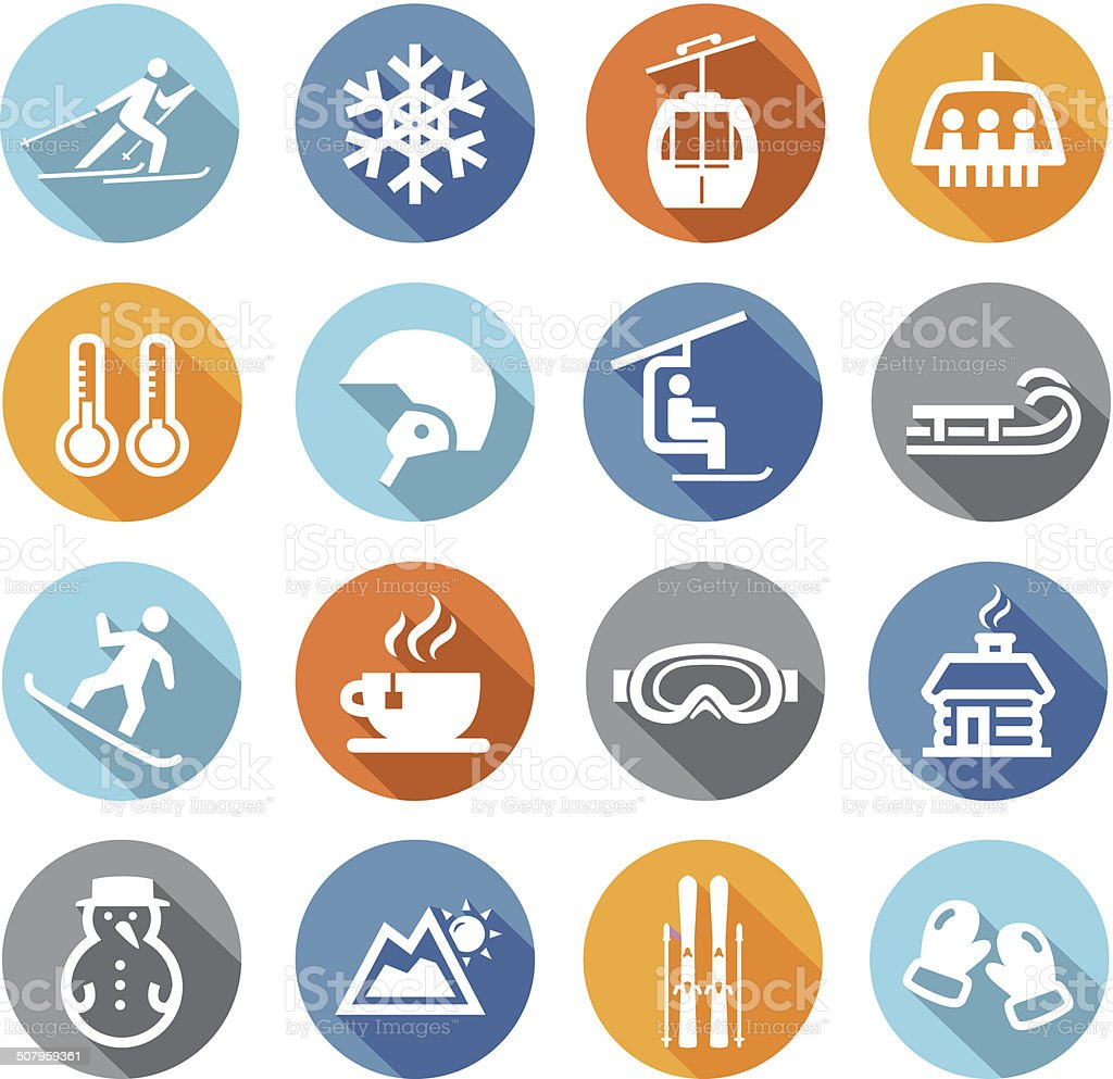 Winter Icons Flat Design vector art illustration