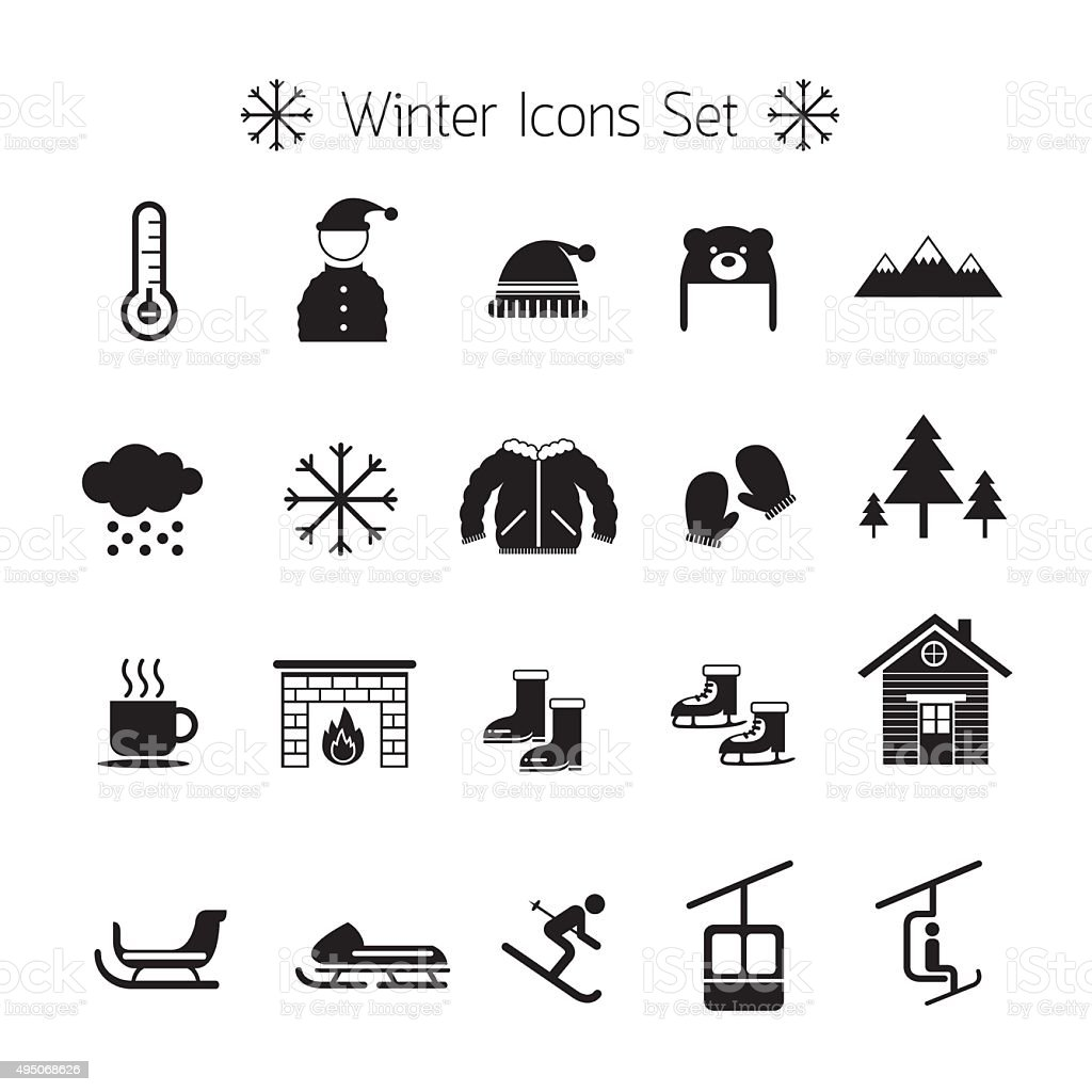 Winter Icons Set, Silhouette, Black and White vector art illustration