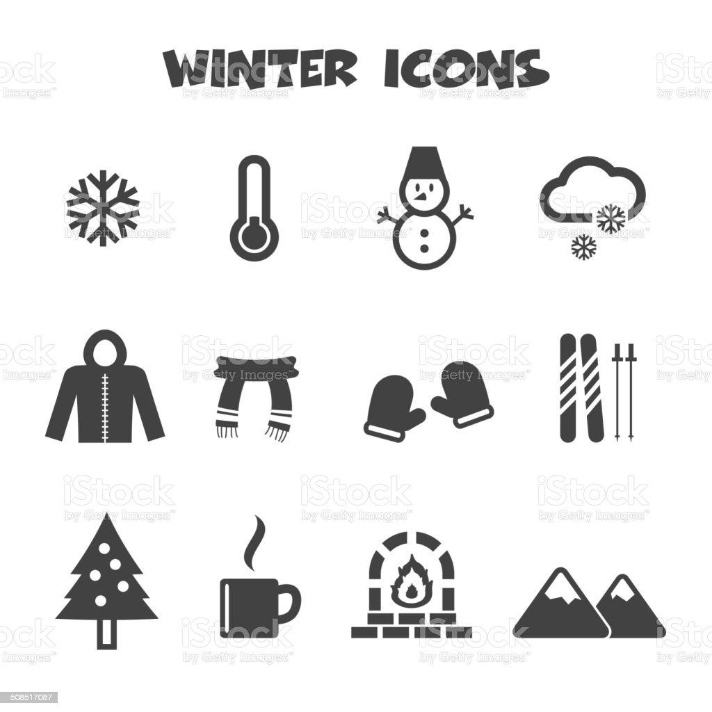 winter icons vector art illustration