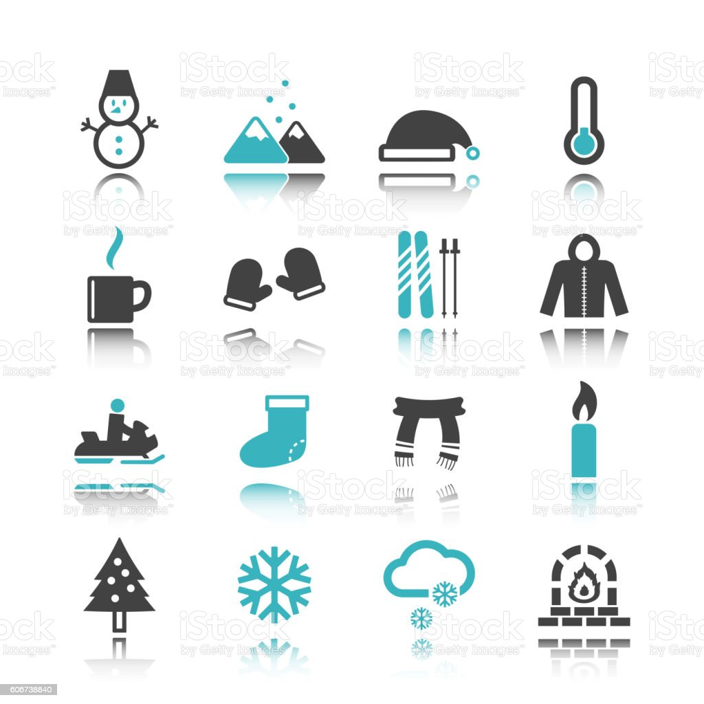 winter icons with reflection vector art illustration