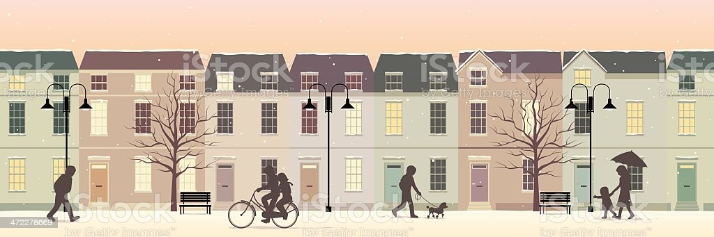 Winter in Lovely Twilight Town royalty-free stock vector art