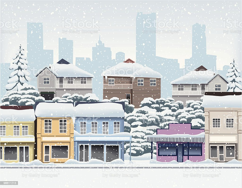 WInter in the city suburbs vector art illustration