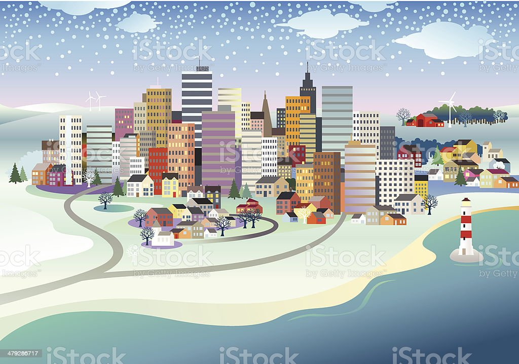 Winter in the City royalty-free stock vector art
