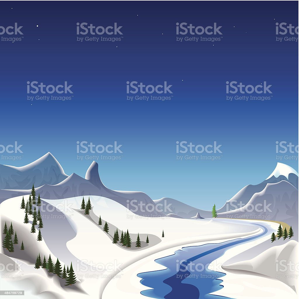 Winter in the mountains royalty-free stock vector art