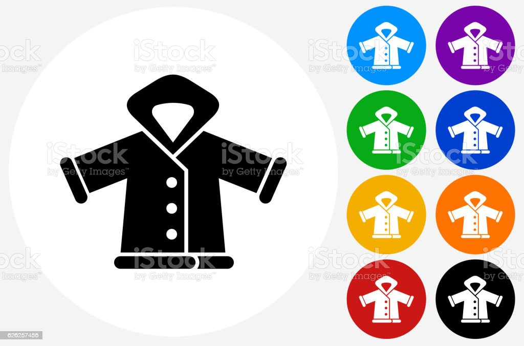 Winter Jacket Icon on Flat Color Circle Buttons vector art illustration