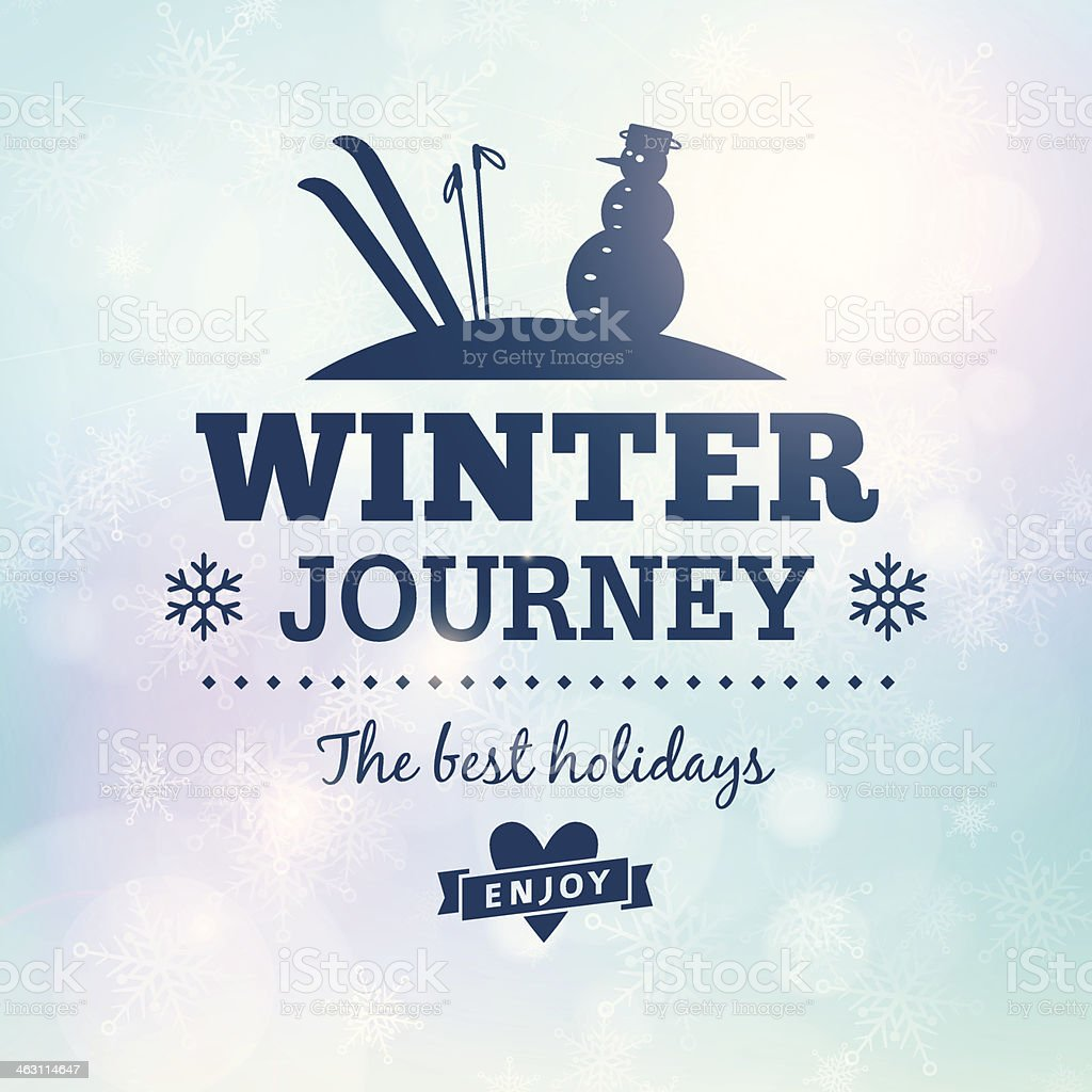Winter journey holidays poster vector art illustration