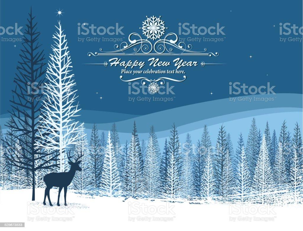 winter journey vector art illustration