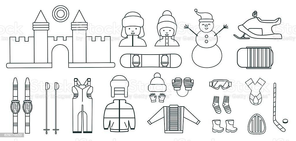 Winter kids activities line icon set. vector art illustration