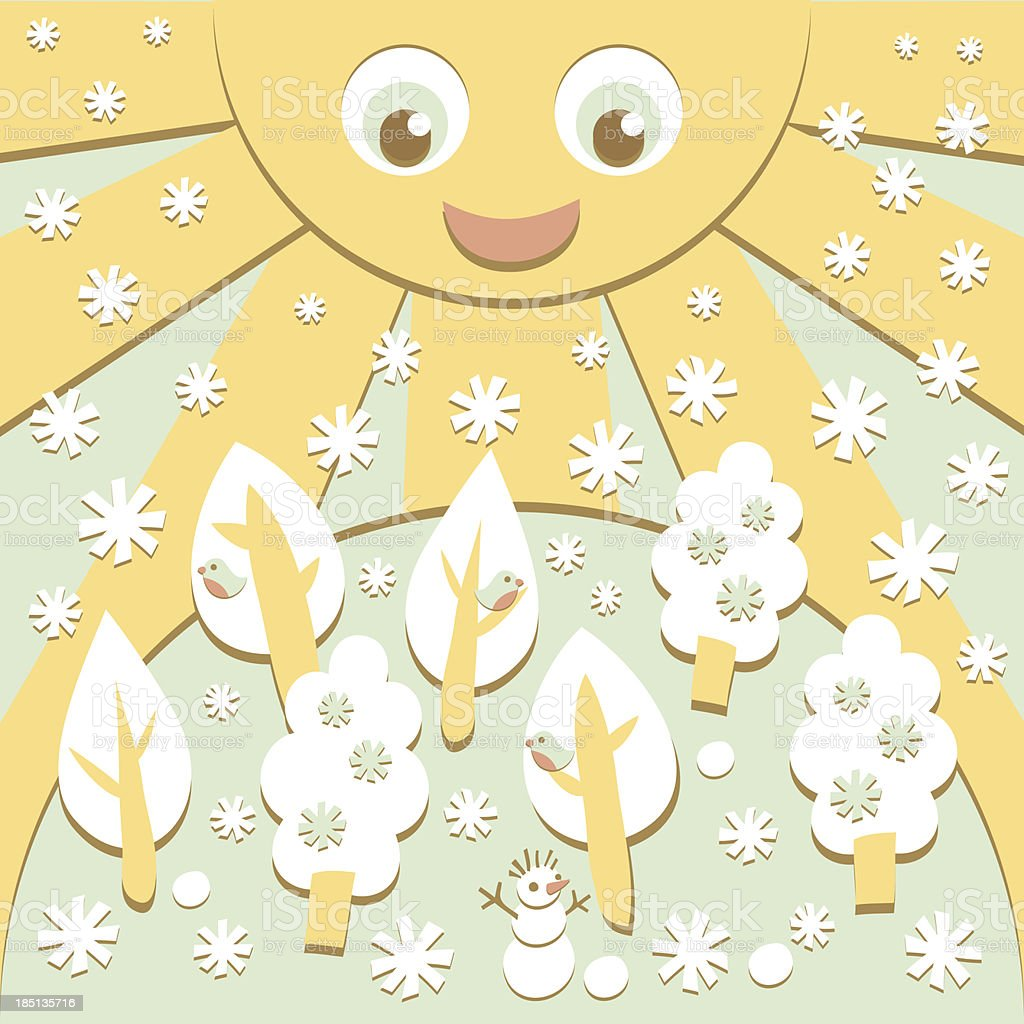 Winter - kid's art and craft royalty-free stock vector art
