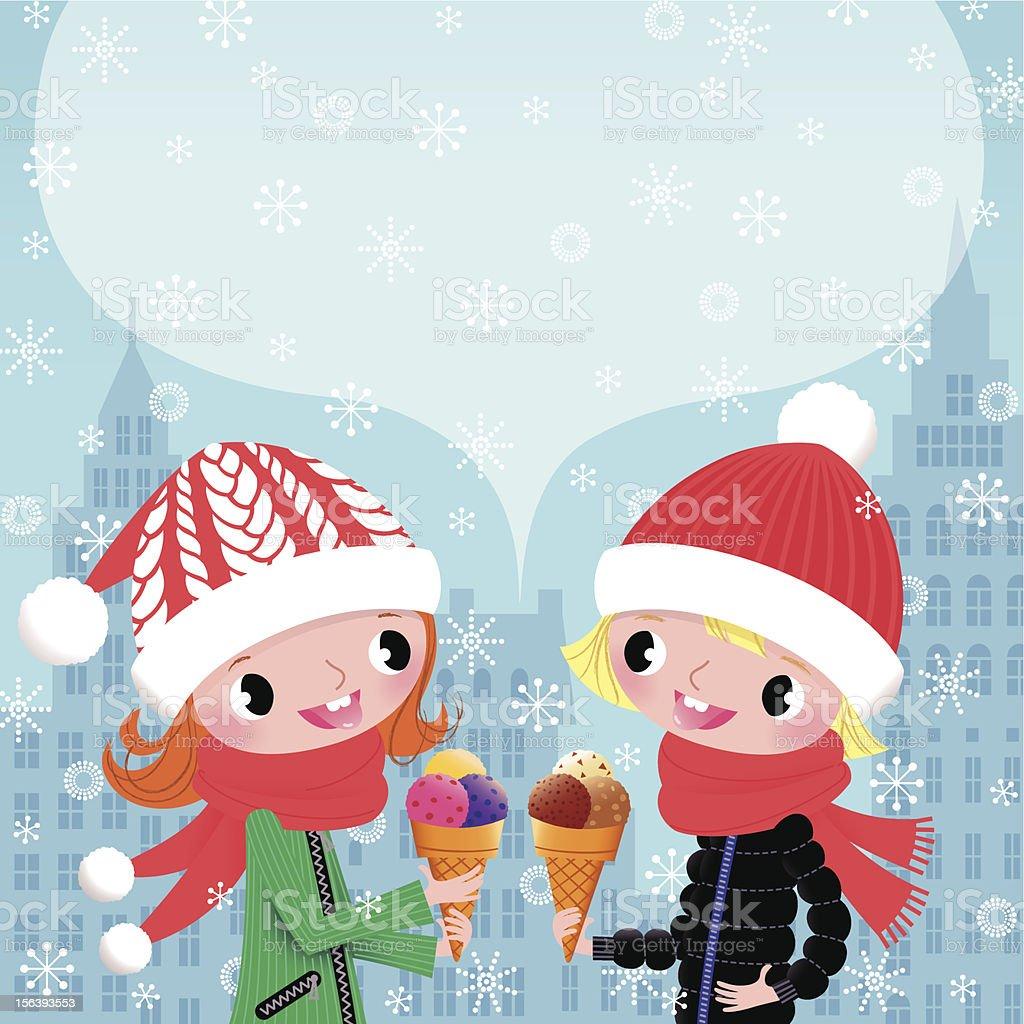 Winter. Kids. Ice Ceam. royalty-free stock vector art