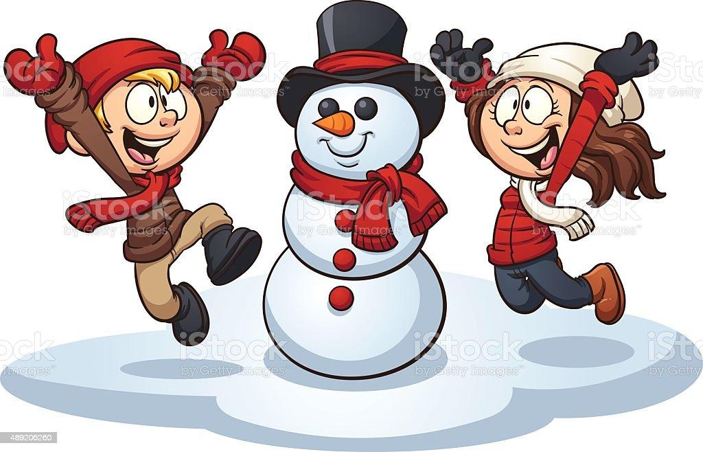 Winter kids vector art illustration