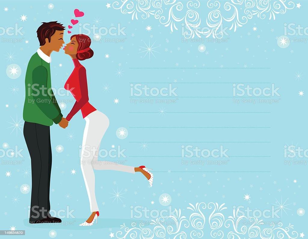 Winter Kiss (Greeting Card) royalty-free stock vector art