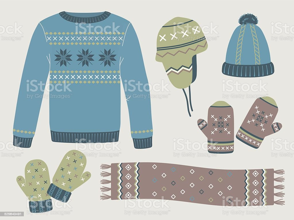 Winter knitted clothes: sweater, hats, mittens, scarf vector art illustration